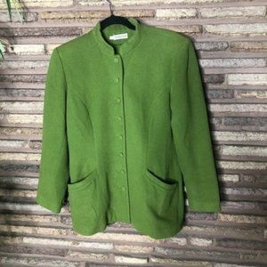 Cacharel Vintage Green Wool Designer Jacket